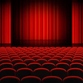 Red Curtains Theater Stage — Stock Vector