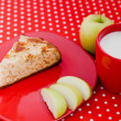 Homemade baking apple pie with cup of milk — Stock Photo #12492087