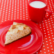 Homemade baking apple pie with cup of milk — Stock Photo #12566880