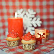 Wintery cupcakes to celebrate New Year — Stock Photo