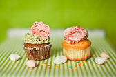 Cupcakes on the green background — Stock Photo