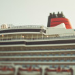 Tiltshift photo of big ocean cruise liner — Stock Photo