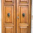 Brown wooden door with knockers — Stock Photo