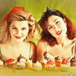 Vintage image: housewives and cupcakes — Foto Stock #23948049