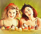 Vintage image: housewives and cupcakes — Stock Photo
