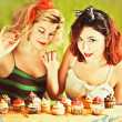 Vintage housewifes and cupcakes — Stock Photo #24967333