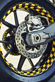 Motorcycle wheel and brakes — Stock Photo