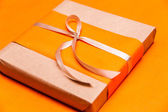 Closeup orange gift box — Foto de Stock