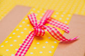 Closeup knot on the gift box — Foto Stock