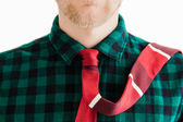 Fashion young man with red necktie — Stock Photo