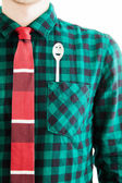 Man with tie and a spoon in the pocket — Stockfoto