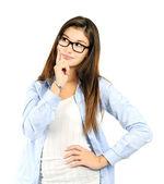 Thinking cheerful girl — Stock Photo
