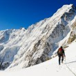 Climber reaching the summit of mountain — Stock Photo