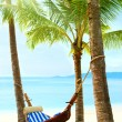 Beautiful tropical beach with palm tree and sand — Stock Photo