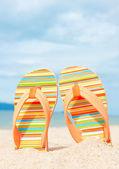 Holidays Background. Beach sandals on the sandy coast — Stock Photo