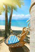 Empty hammock between palms trees at sandy beach — Stock Photo