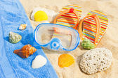 Seashells and diving mask on the ocean beach — Stock Photo