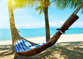Empty hammock between palm trees on tropical beach — Stock Photo