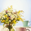 Tea for two and summer flowers — Stock Photo