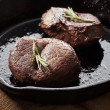 Beef steak in pan — Stock Photo
