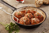 Meatballs in pan — Stock Photo