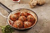 Meatballs in pan — Stock Photo