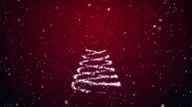Growing fur-tree and snowflakes on a red background — Stock Video