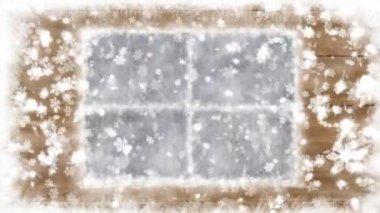 Janela e queda de neve neve do ano novo — Vídeo stock