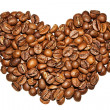 Stock Photo: Heart from coffee grains on a white background