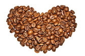 Corazón de granos de café sobre un fondo blanco — Foto de Stock