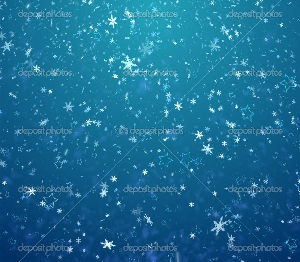 The winter background, falling snowflakes and stars — Stock Photo #13929204