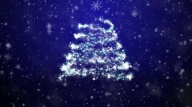 New Year tree with falling snowflakes and stars — Stock Video