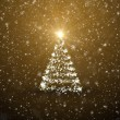 Christmas tree with falling snowflakes and stars — Stock Photo #17140077