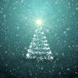 Christmas tree with falling snowflakes and stars — Stock Photo #17140103