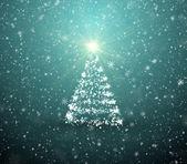 Arbre de noël avec des flocons de neige tombant et étoiles — Photo