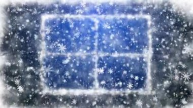 Snow-covered window and falling snowflakes — Stock Video