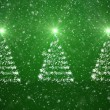 Christmas trees with falling snowflakes and stars — Stockfoto