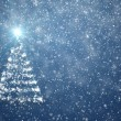 Christmas tree with falling snowflakes and stars - Stock Photo