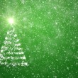 Christmas tree with falling snowflakes and stars — Stock Photo #17859727