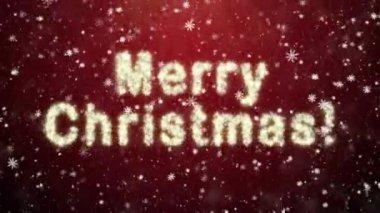 Inscription of Merry Christmas from snowflakes — Stock Video