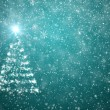 Christmas tree with falling snowflakes and stars — Stock Photo #17862351