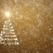 Christmas tree with falling snowflakes and stars — Stock Photo #17867015