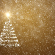 Stock Photo: Christmas tree with falling snowflakes and stars