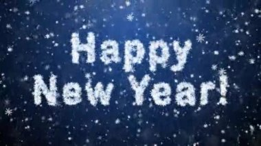 Inscription of Happy New Year from snowflakes — Stock Video