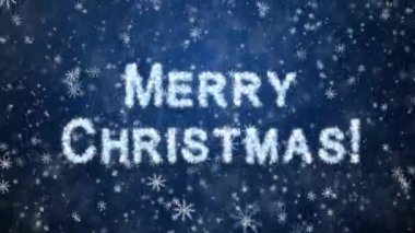 Inscription Merry Christmas from snowflakes — Stockvideo
