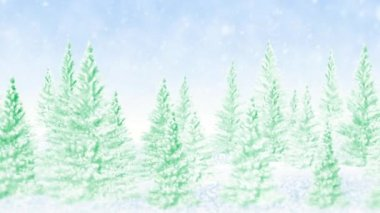 Winter frosty Christmas forest — Vídeo de Stock