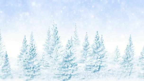 Bosque de Navidad helada de invierno — Vídeo de stock