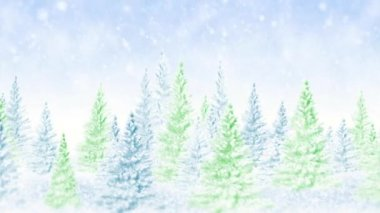 Winter frosty Christmas forest — Vídeo Stock