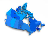 3d blue canada map on white — Stock Photo
