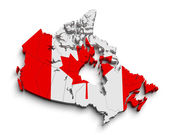 3d canada flag map on white — Stock Photo